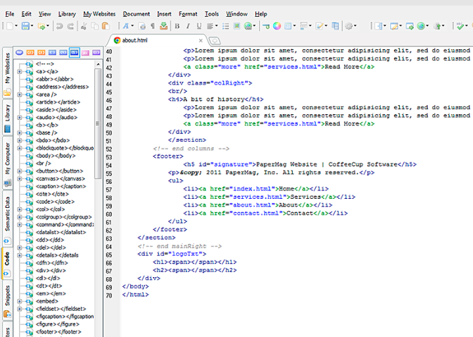 CoffeeCup Text Editor for Programming