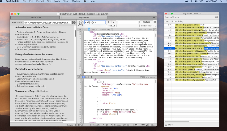 SubEthaEdit Text Editor for Programming